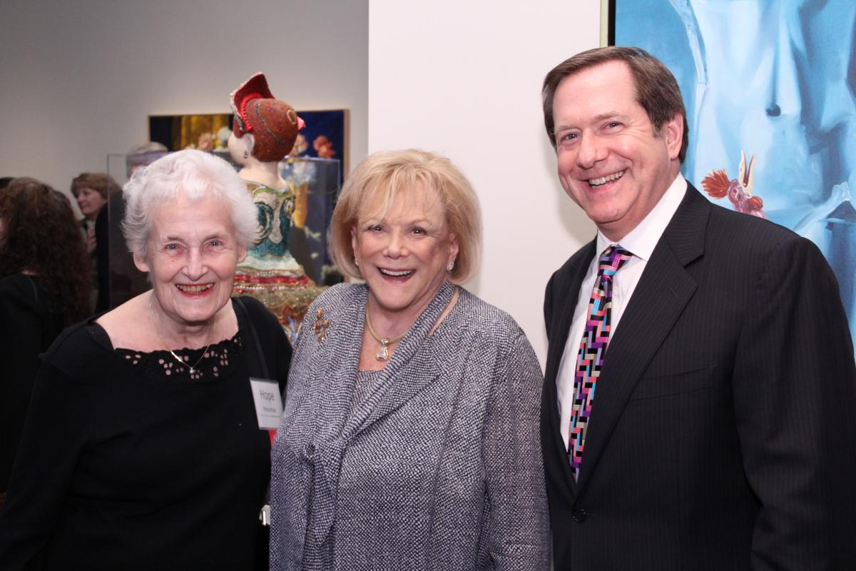 Hope Hughes Pressman, Arlene Schnitzer, and Jordan Schnitzer at the opening of Provenance